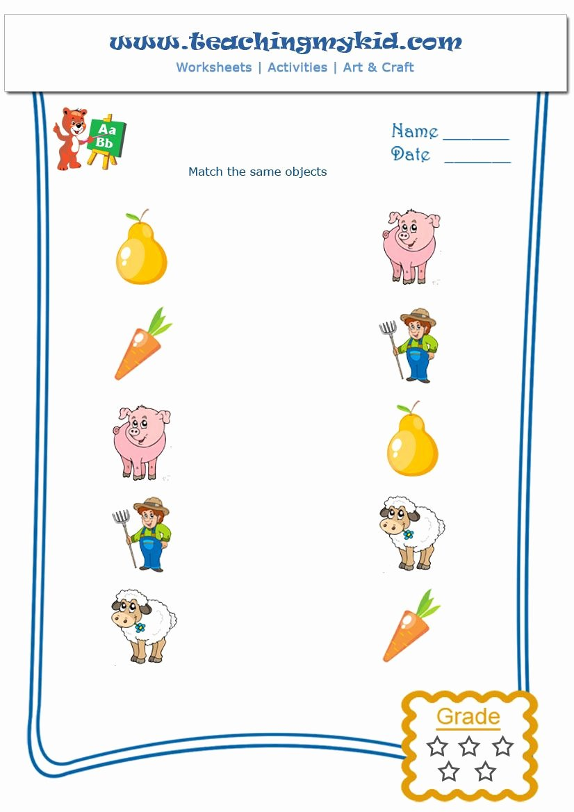 Matching Objects Worksheets for Preschoolers Fresh Match the Same Objects Worksheet 5 Teaching My K