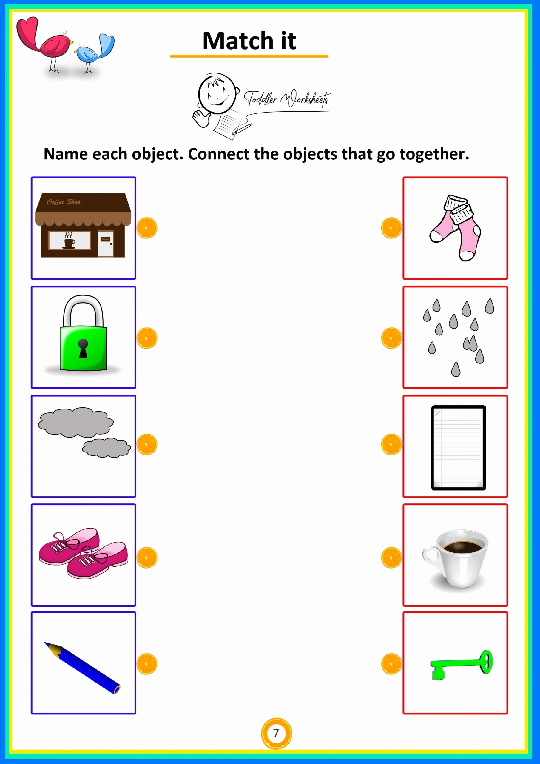 Matching Objects Worksheets for Preschoolers Lovely Match It 7 toddler Worksheets