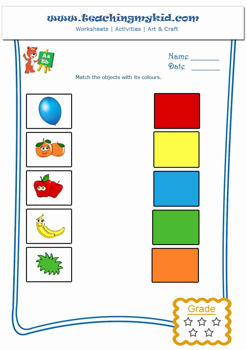 Matching Pictures Worksheets for Preschoolers Beautiful Match the Objects with Colours Worksheet 1 Teaching My