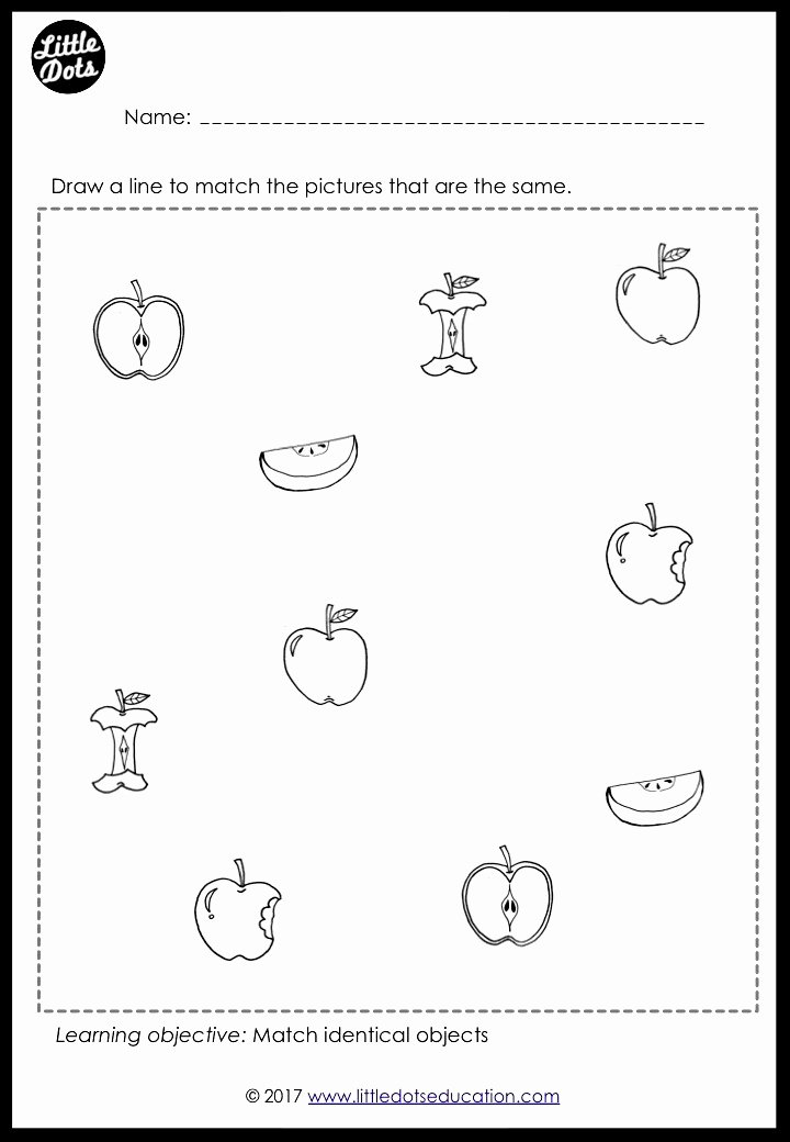 Matching Pictures Worksheets for Preschoolers top Preschool Fruits theme Matching Worksheets and Activities
