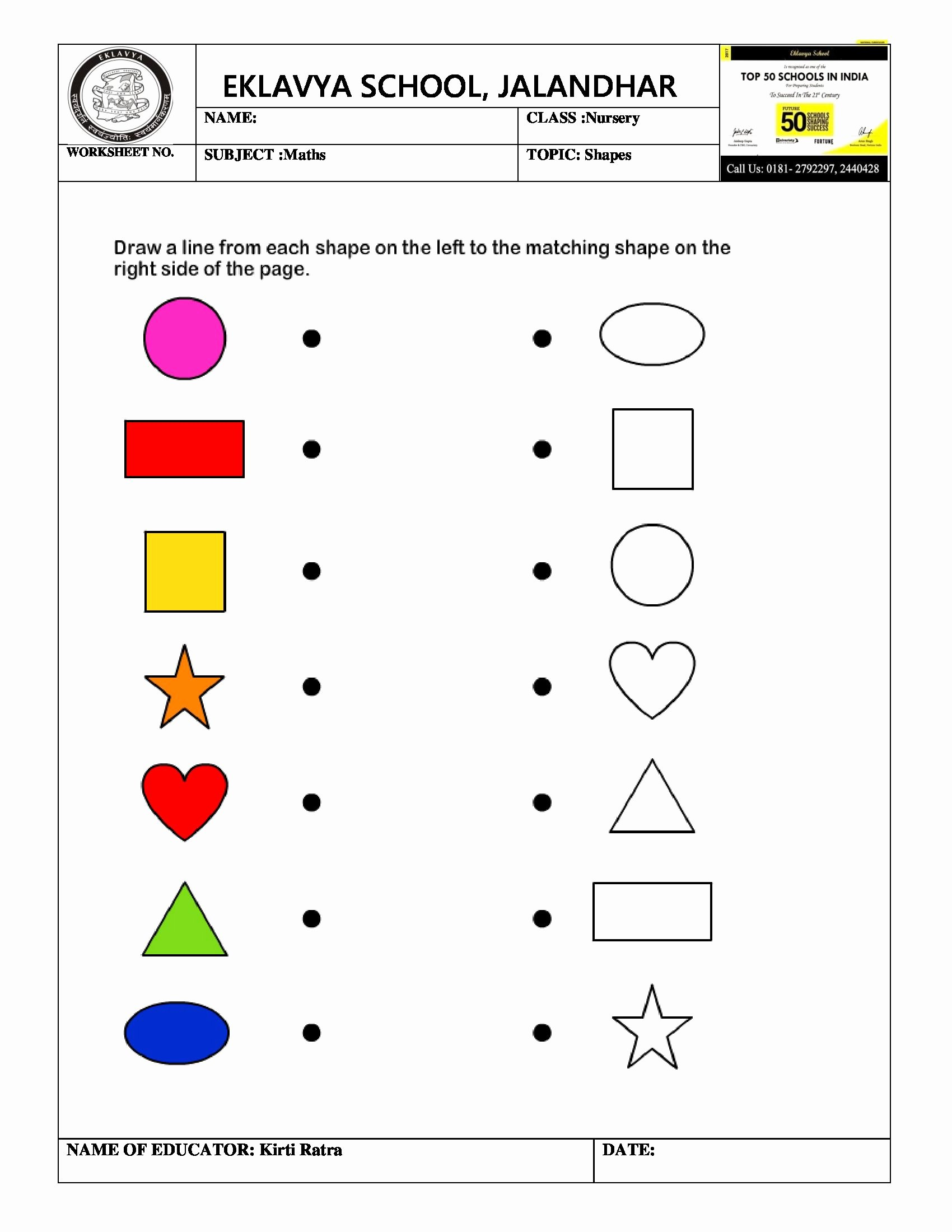 Matching Shapes Worksheets for Preschoolers Awesome 10 Best Matching Shapes Worksheets for Preschool Images On