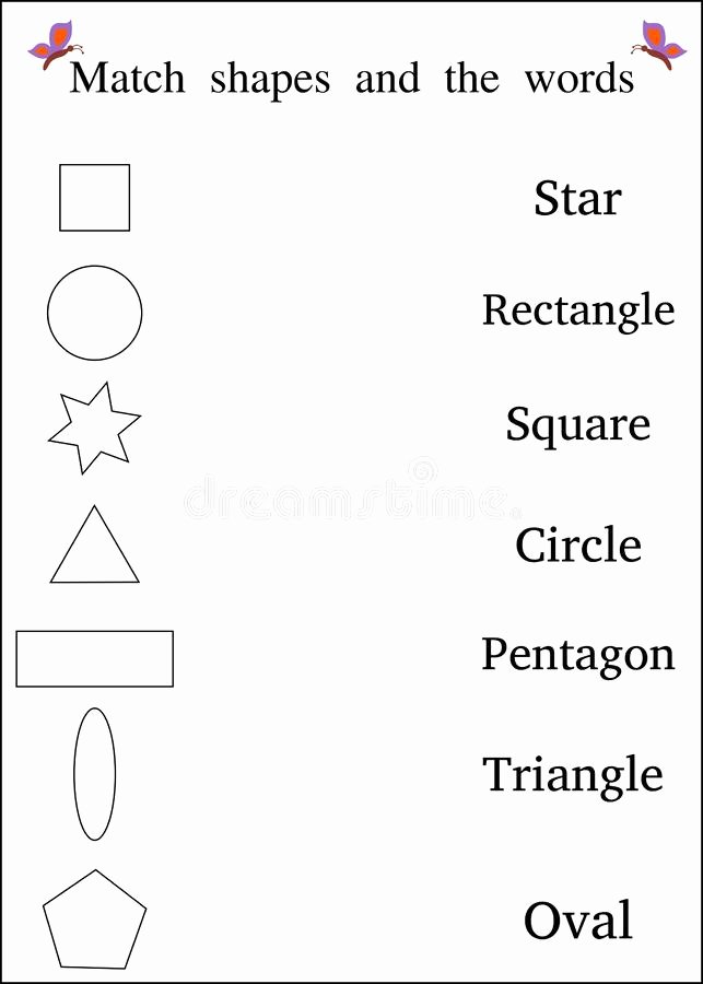 Matching Shapes Worksheets for Preschoolers Best Of Match Shapes Kids Worksheet Illustration Stock