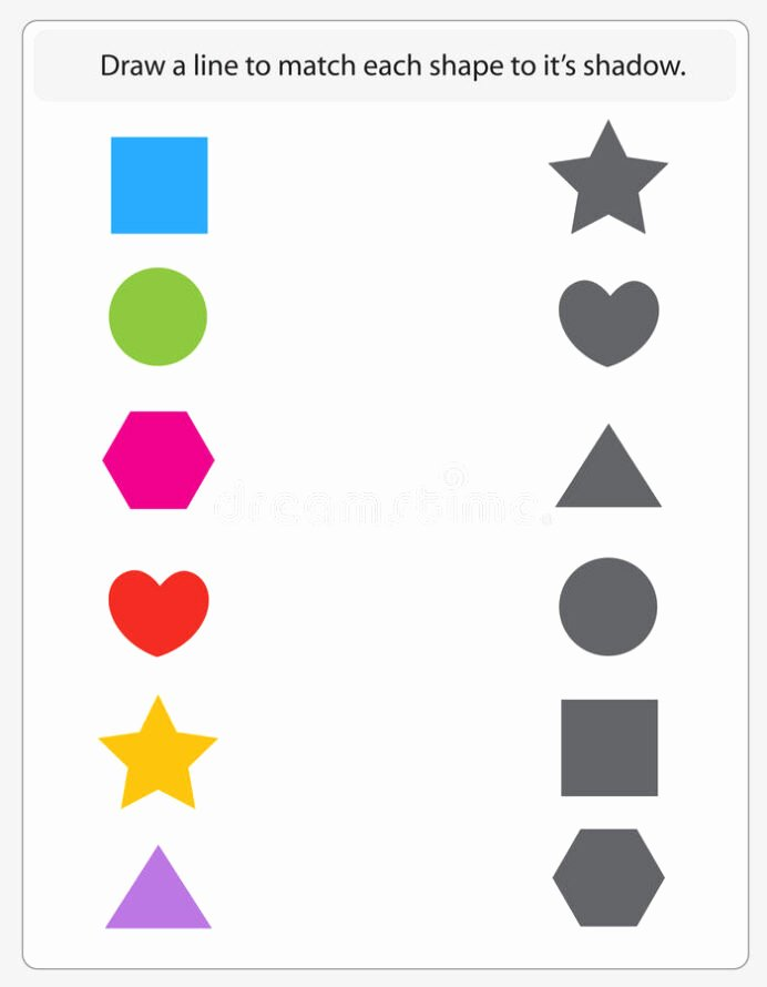 Matching Shapes Worksheets for Preschoolers Inspirational Kids Worksheet Matching Shapes and Shadows Stock Vector