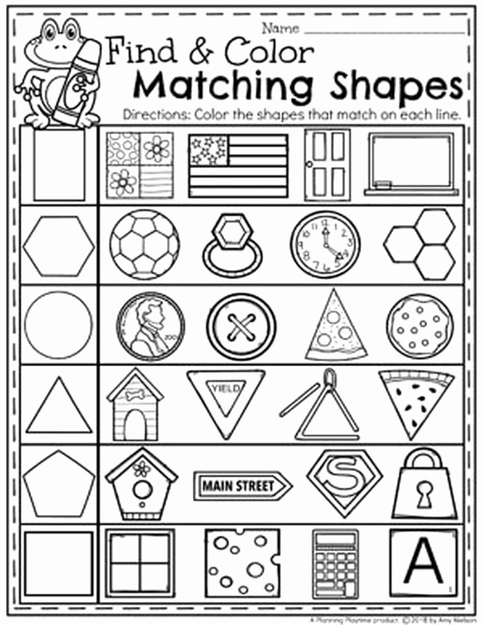 Matching Shapes Worksheets for Preschoolers top Preschool Math Worksheets Shapes
