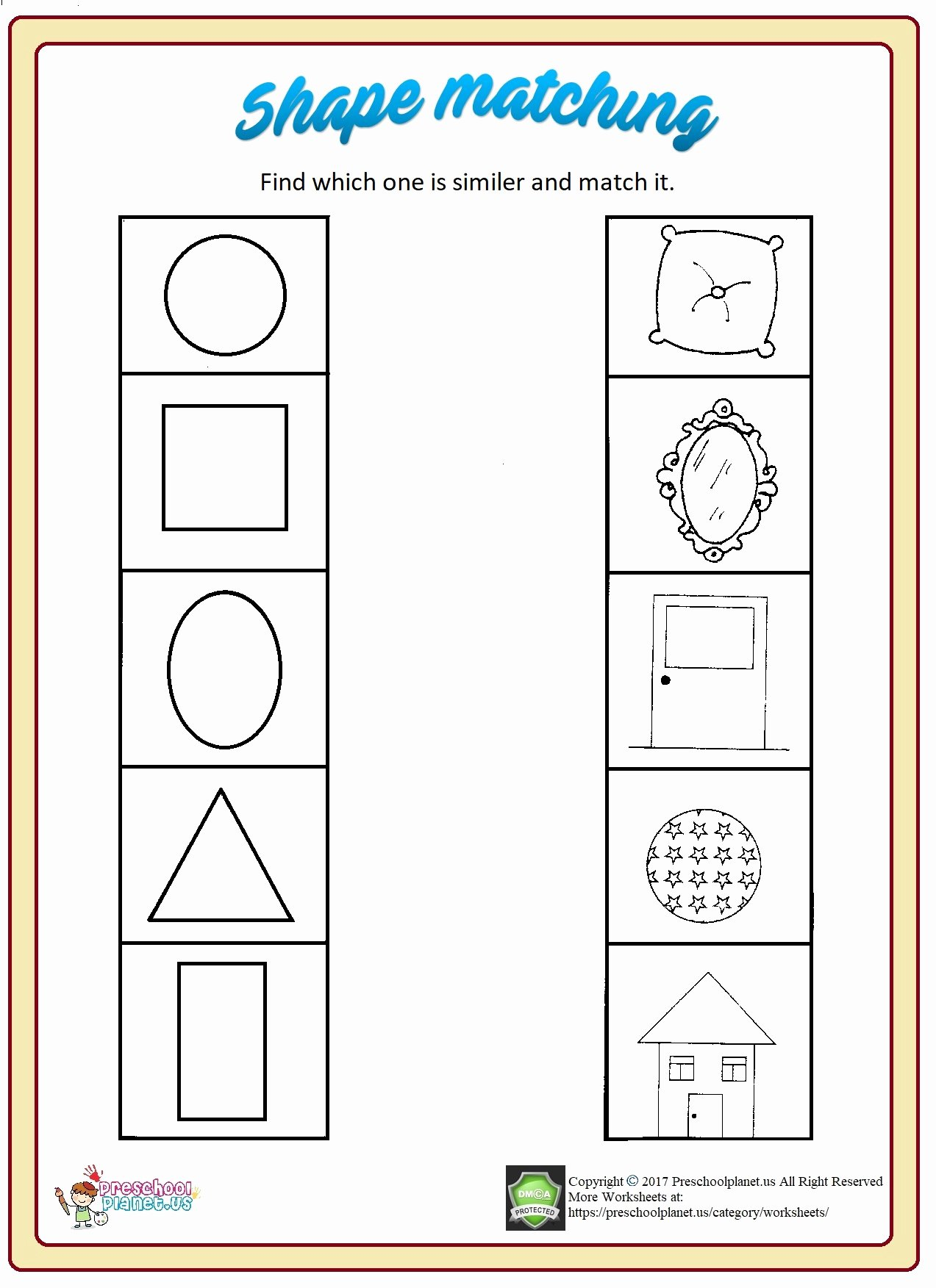 Matching Shapes Worksheets for Preschoolers top Shape Matching Worksheet – Preschoolplanet