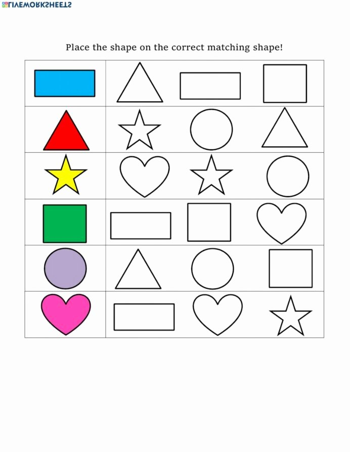 Matching Shapes Worksheets for Preschoolers Unique Shape Matching Interactive Worksheet Shapes Worksheets Math