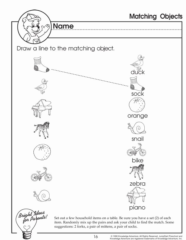 Matching Worksheets for Preschoolers Awesome Matching Objects – Matching Worksheet for Preschoolers