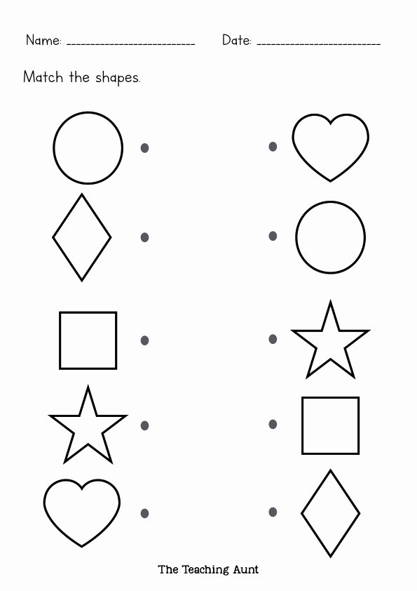 Matching Worksheets for Preschoolers Beautiful to Teach Basic Shapes Preschoolers the Teaching Aunt