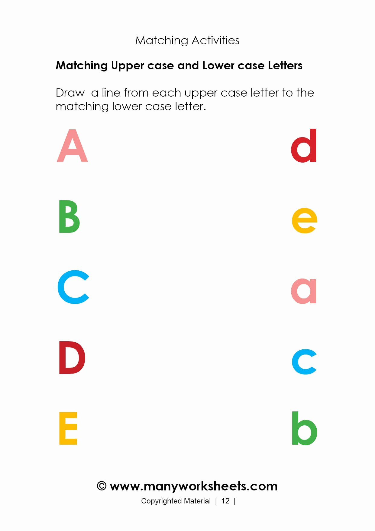 Matching Worksheets for Preschoolers Best Of Math Worksheet Alphabet Worksheet Matching to Printable