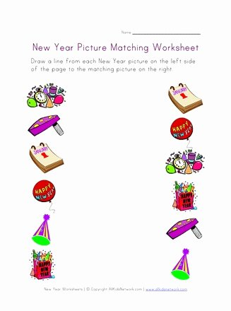 Matching Worksheets for Preschoolers Lovely New Year Matching Worksheet