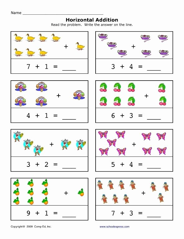 Math Worksheets for Preschoolers Addition Inspirational Addition Worksheet for Preschool and Kindergarten