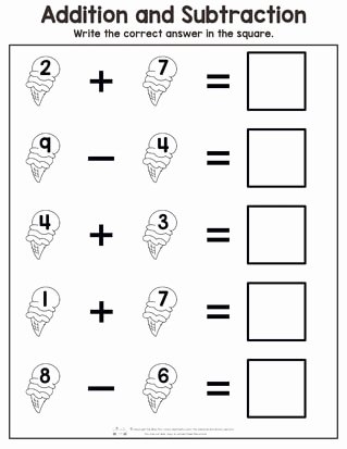 Math Worksheets for Preschoolers Addition Lovely Summer Addition and Subtraction Worksheets Itsybitsyfun