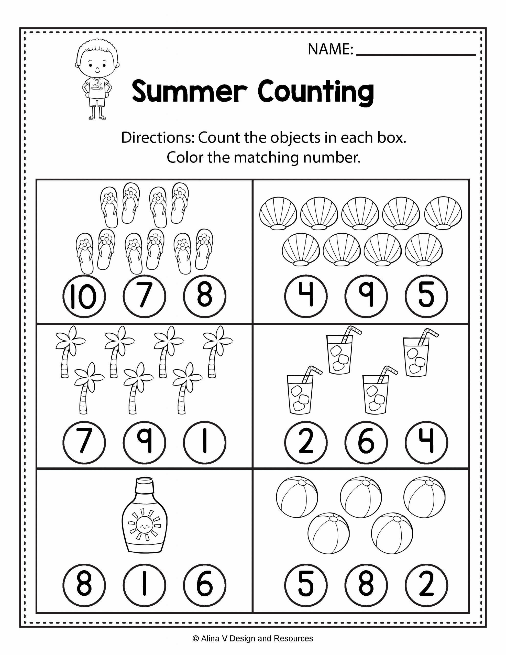 Math Worksheets for Preschoolers top Counting Worksheets Summer Math Worksheets and Activities
