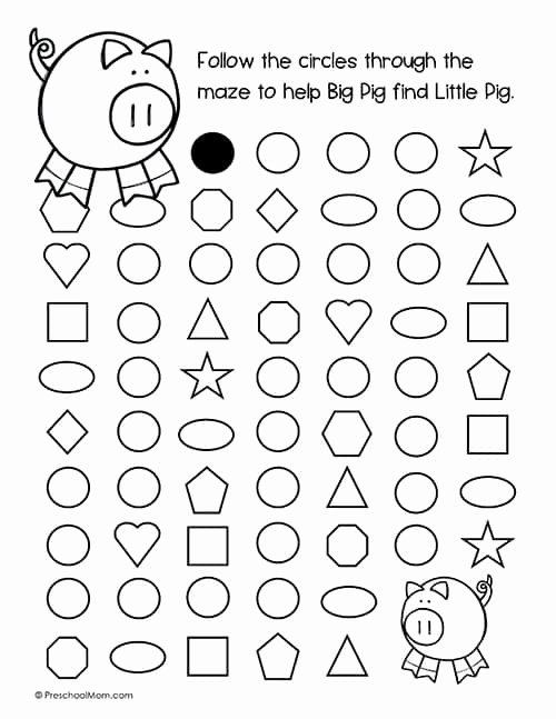 Maze Worksheets for Preschoolers Awesome Shape Mazes for Preschoolers Preschool Mom