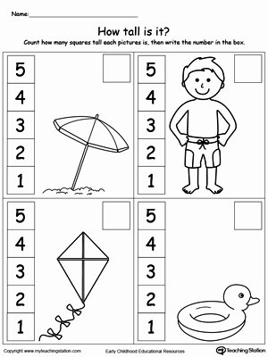 Measuring Worksheets for Preschoolers Awesome Preschool Measurement Printable Worksheets