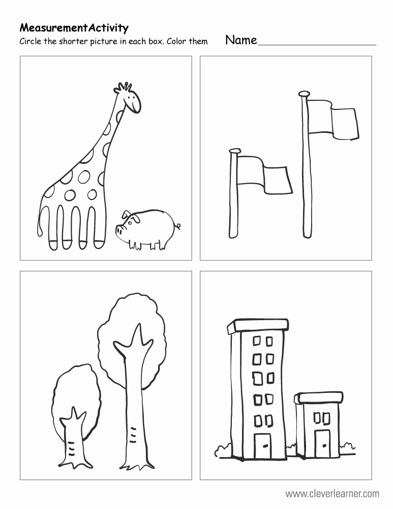 Measuring Worksheets for Preschoolers Lovely Free Printable Worksheets On Measuring Sizes Tall and Short