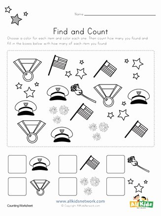 Memorial Day Worksheets for Preschoolers Best Of Memorial Day Find and Count Worksheet