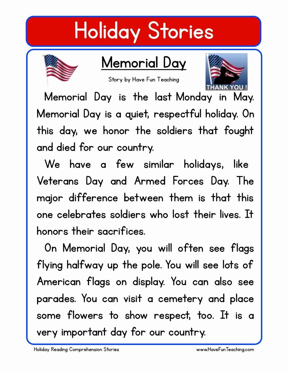 Memorial Day Worksheets for Preschoolers Best Of Memorial Day Reading Prehension Worksheet