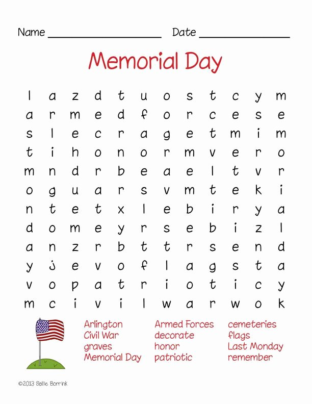 Memorial Day Worksheets for Preschoolers Best Of Memorial Day Word Search Puzzle