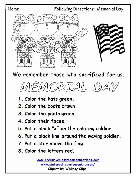 Memorial Day Worksheets for Preschoolers Best Of This Free Memorial Day Worksheet Reminds Students Of the