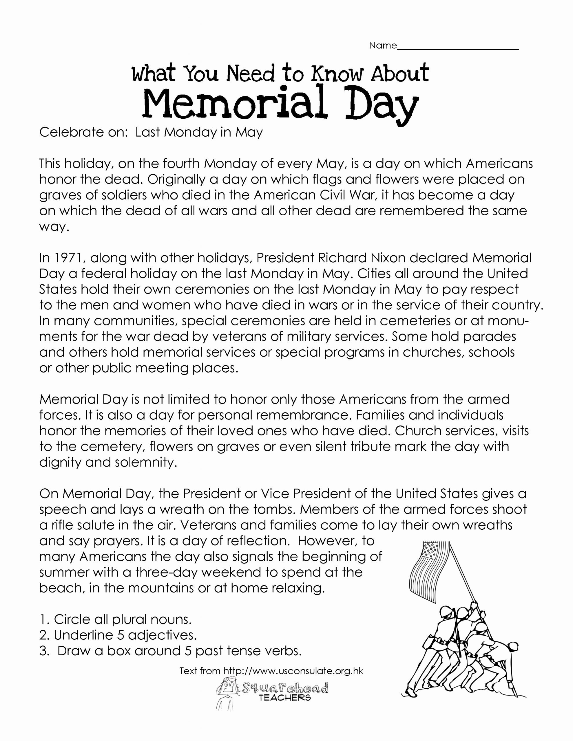 Memorial Day Worksheets for Preschoolers Fresh Memorial Day Free Worksheet