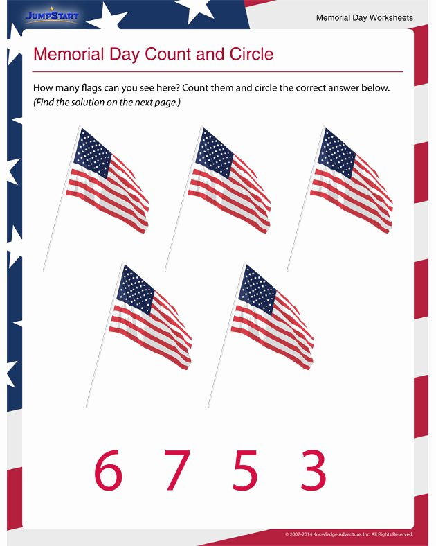 Memorial Day Worksheets for Preschoolers Inspirational Math Worksheets for Preschool Memorial Day Count and Circle
