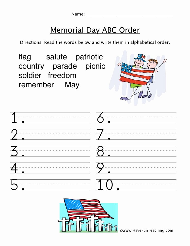 Memorial Day Worksheets for Preschoolers New Memorial Day Abc order Worksheet