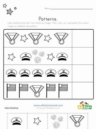 Memorial Day Worksheets for Preschoolers top Memorial Day Cut and Paste Patterns Worksheet