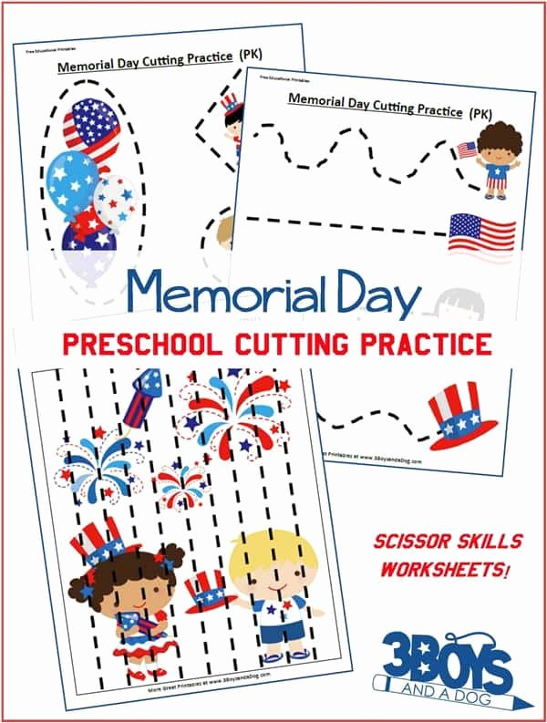 Memorial Day Worksheets for Preschoolers top Memorial Day Preschool Cutting Practice Worksheets – 3 Boys