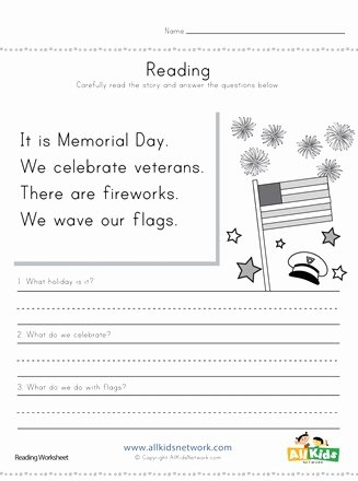 Memorial Day Worksheets for Preschoolers top Memorial Day Reading Prehension Worksheet