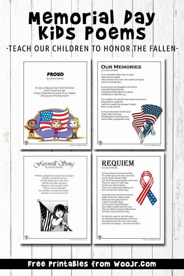Memorial Day Worksheets for Preschoolers Unique Memorial Day Kids Poems