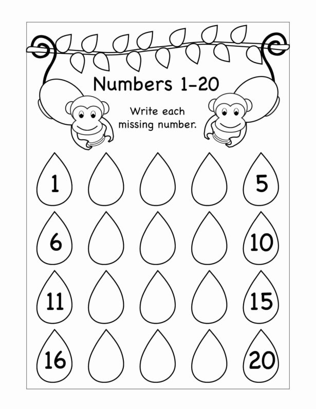 Monkey Worksheets for Preschoolers Unique Worksheet for Kindergarten Missing Numbers Printable Tracing