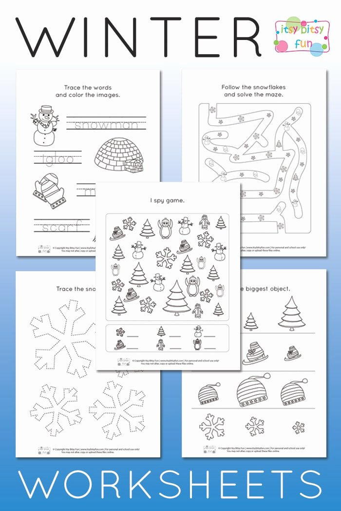 Montessori Worksheets for Preschoolers Awesome Winter Worksheets for Kindergarten Itsy Bitsy Fun themed