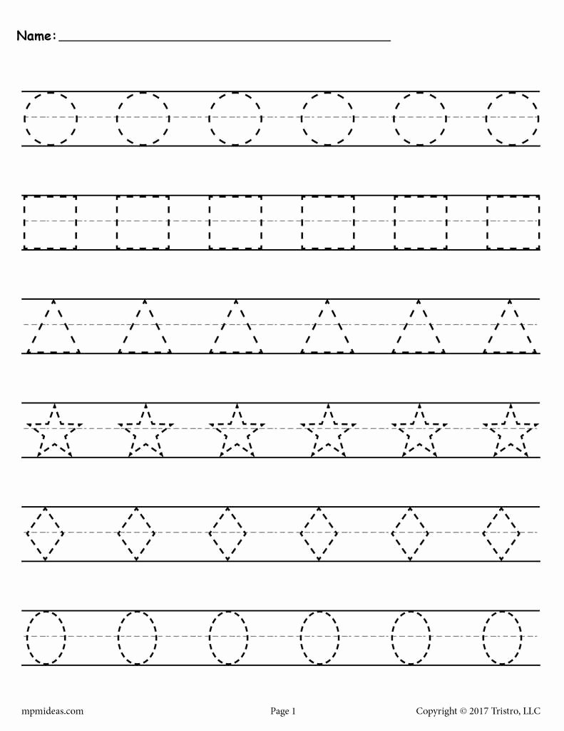 Montessori Worksheets for Preschoolers New Shapes Tracing Worksheets