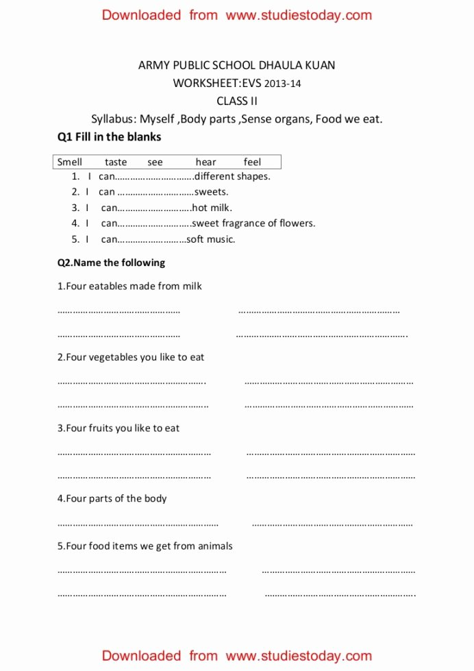 My Body Worksheets for Preschoolers Fresh Cbse Evs Practice Worksheets Myself Body Parts for My