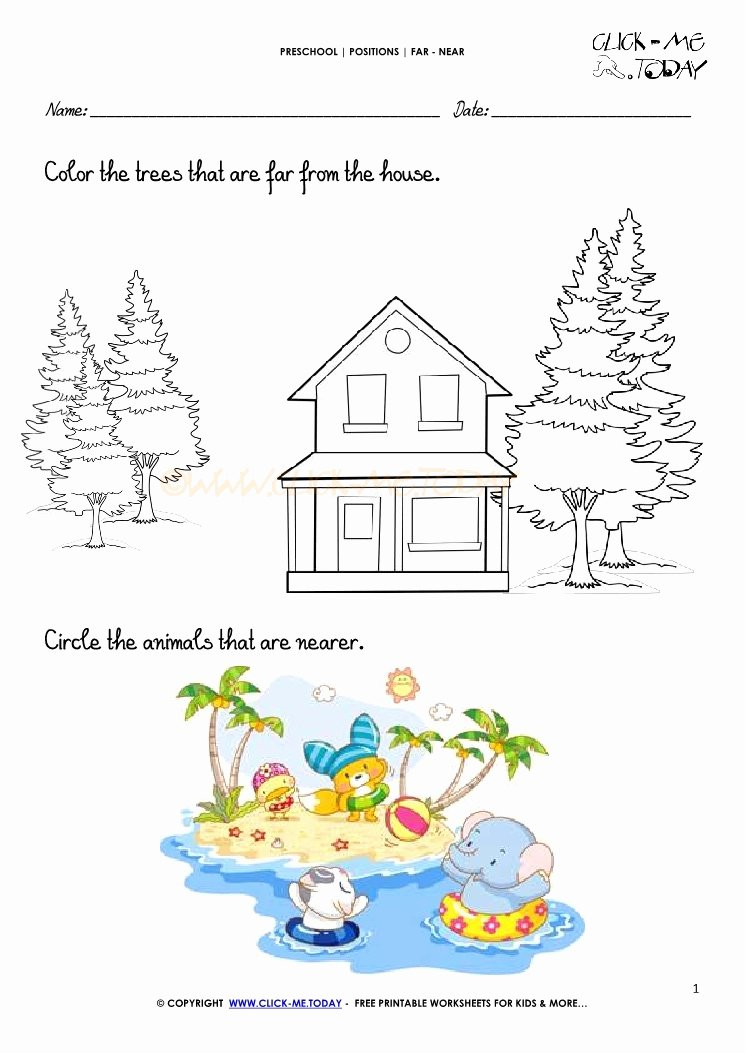Near and Far Worksheets for Preschoolers Best Of Far Near Worksheet 1
