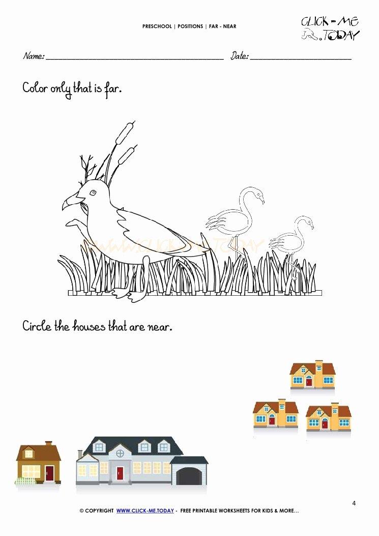 Near and Far Worksheets for Preschoolers Lovely Far Near Worksheet 4