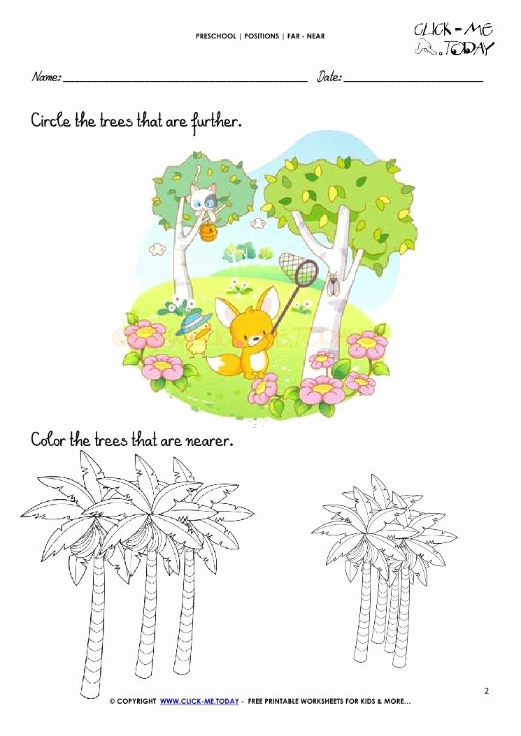 Near and Far Worksheets for Preschoolers top Far Near Worksheet 2