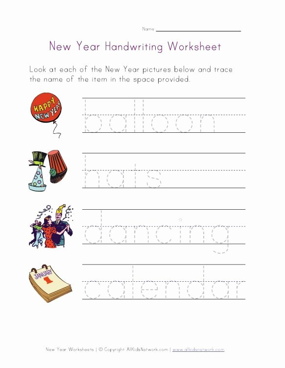 New Year Worksheets for Preschoolers Fresh New Year Handwriting Worksheet