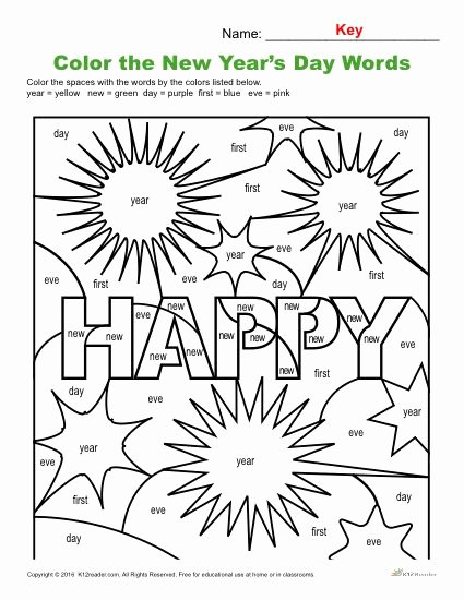 New Year Worksheets for Preschoolers Lovely Color the Words Printable New Year Activity Worksheets