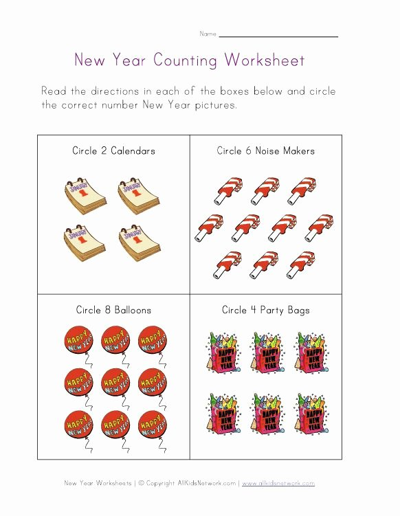 New Year Worksheets for Preschoolers top New Year Worksheets for Kids