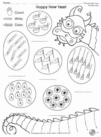 New Year Worksheets for Preschoolers Unique Chinese New Year Counting Worksheet