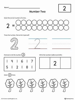 Number 1 and 2 Worksheets for Preschoolers Beautiful Number 2 Practice Worksheet