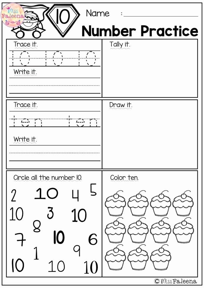 Number 1 and 2 Worksheets for Preschoolers top Number Practice Set Math Worksheets Kindergarten Adding and