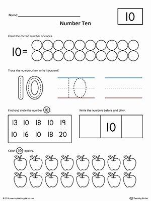 Number 10 Worksheets for Preschoolers Awesome Number 10 Practice Worksheet