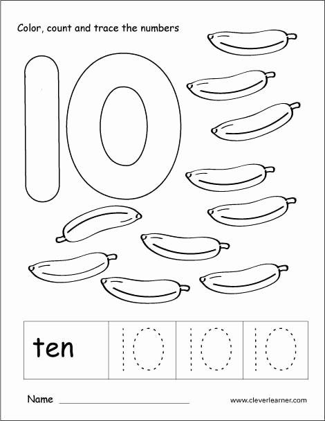 Number 10 Worksheets for Preschoolers Fresh Number 10 Tracing and Colouring Worksheet for Kindergarten