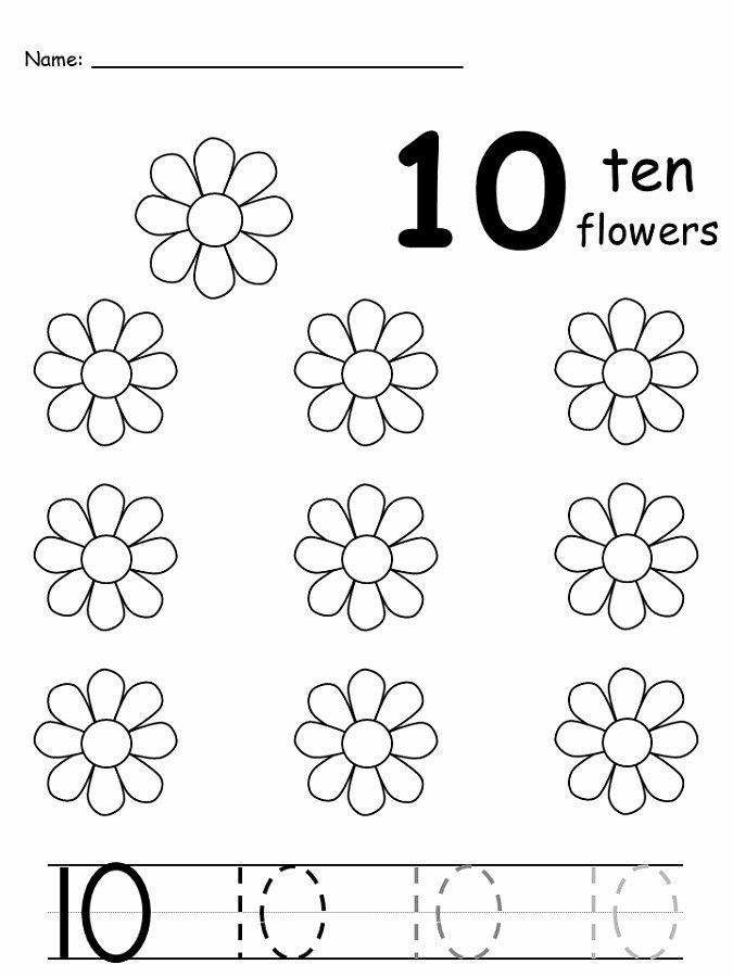 Number 10 Worksheets for Preschoolers Lovely Free Number 10 Worksheets