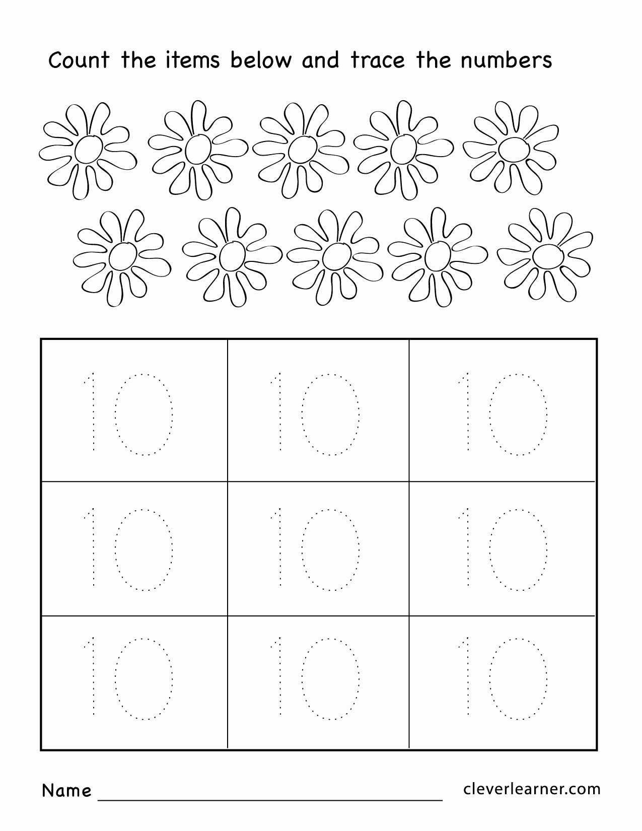 Number 10 Worksheets for Preschoolers Lovely Number Ten Writing Counting and Identification Printable