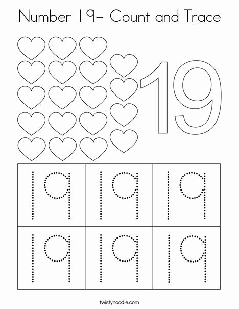 Number 19 Worksheets for Preschoolers Lovely Number 19 Count and Trace Coloring Page Twisty Noodle In