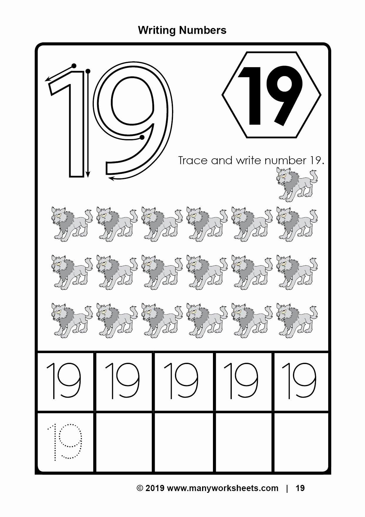Number 19 Worksheets for Preschoolers Unique Number 19 Tracing Worksheet
